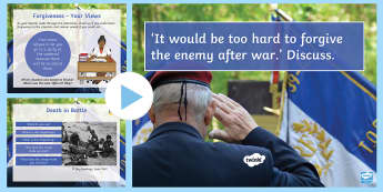 'It would be too hard to forgive the enemy after war.' Discuss Lesson Pack - forgiveness, values, beliefs, feelings, thoughts