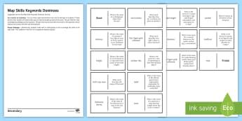 Map Skills Dominoes Activity Sheet - Map skills, Dominoes, Game, Keywords, Geography