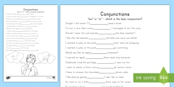 'But' and 'Or' Conjunctions Worksheet / Activity Sheet - Grammar, Connectors, FANBOYS, Language, Sentences