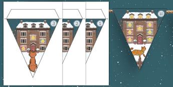 Ten Little Lights Display Bunting - twinkl originals, fiction, winter, christmas, snow, ks1