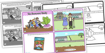 Enormous Turnip Story Sequencing (4 per A4) -  Enormous Turnip, sequencing, Traditional tales, tale, fairy tale, little old man, little old woman, seed, cat, dog, mouse, pull, turnip, working together, the enormous turnip story book
