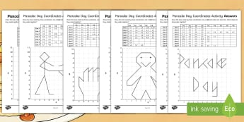 LKS2 Pancake Day Coordinates Activity Sheets - Gingerbread man, Frying Pan, pancake race, Shrovetide football, worksheets