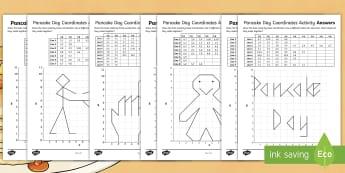 LKS2 Pancake Day Coordinates Worksheet / Activity Sheets - Gingerbread man, Frying Pan, pancake race, Shrovetide football, worksheets