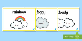 Weather Words Display Posters - weather and the seasons, weather posters, weather word posters, weather display posters, types of weather, weather types