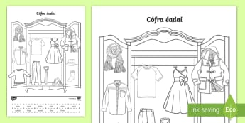 Label the Clothes Worksheet / Activity Sheet Gaeilge - ROI, Clothes, Gaeilge, colour, vocabulary, question, response, answer, worksheet, vocab, words, phra