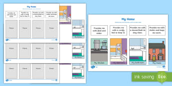 My Home Differentiated Activity Sheets - EYLF Geography, my home, basic needs, Foundation Stage Geography, Australia