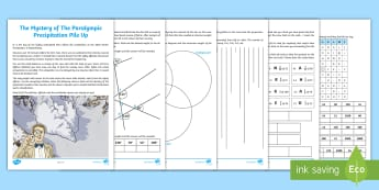 UKS2 The Mystery of The Paralympic Precipitation Pile-Up Maths Game - problem solving, compass directions, angles, degrees, multiplication, subtraction, addition, divisio