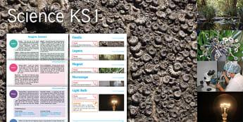 Imagine Science KS1 Resource Pack - Fossils, Lagoon, Magnet, Microscope, Light Bulb, Maths, shape dinosaurs, fractions, venn diagrams, E