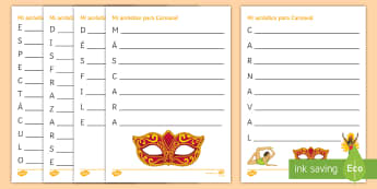 Carnival Acrostic Poem Spanish - Fancy, Dress, customs, celebrations, Creative, Writing