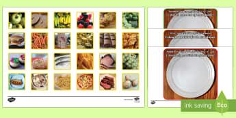 Photo Healthy Eating Sorting Activity Arabic/English - EAL, ESL, food, unhealthy, diet, plate, eatwell, balanced, food groups