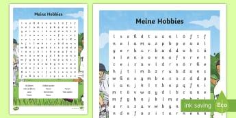 Meine Hobbies Suchsel - Sports and Hobbies, Deutsch, ski, fahren, fahrrad, lesen, malen, spielen, tanzen, schwimmen, reiten,