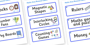 Sapphire Blue Themed Editable Maths Area Resource Labels - Themed maths resource labels, maths area resources, Label template, Resource Label, Name Labels, Editable Labels, Drawer Labels, KS1 Labels, Foundation Labels, Foundation Stage Labels, Teachi