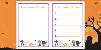 Halloween Fancy Dress Shop Role Play Note Pad - american, us, usa, early years, independent, work area, kindergarten, writing, script, marking, recording, scribing