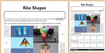 Let's Go Fly a Kite Activity Sheet Kite Shapes - fly, kite, shapes, worksheet
