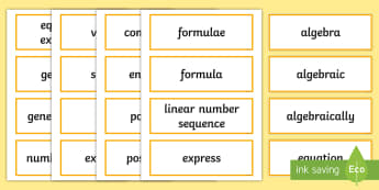 UKS2 Algebra Key Word Cards - maths vocabulary, topic vocabulary, formula, formulae, expression, algebraic, working wall