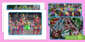 Fotos de exposición: El vocabulario de carnaval Fotos de exposición - Carnaval España, cuaresma, decoración de la clase, decoración de carnaval, disfraz, disfrazar,Spa