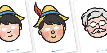 Pinocchio Story Role Play Masks - Pinocchio, Geppetto, Blue Fairy, wand, father, boy, puppet, role play mask, role play, masks,  puppet show, cat, dog, ears and tail, nose, magic tree, coins, raft, school, son, child, shrink, story, story book, story