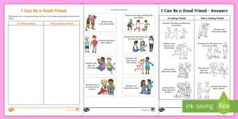 F-2 I Can Be a Good Friend Sorting Activity Sheet - International day of friendship, friends, friendship, qualities, characteristics, sorting, worksheet
