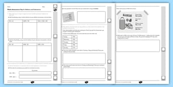 Year 4 Maths Assessment: Addition and Subtraction Term 1 - assessment, Autumn Term Maths Assessment