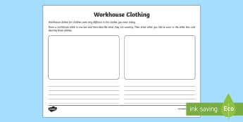 KS1 Workhouse Clothes Activity Sheet - KS1 Workhouses, year 1, year 2, clothing, compare clothing, historical clothes, Victorian clothes, m