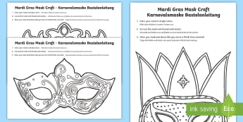 Mardi Gras Mask Craft English/German - Carnival, Fasching, Karneval, Germany, Venice, EAL, German, English-German,,Spanish-translation