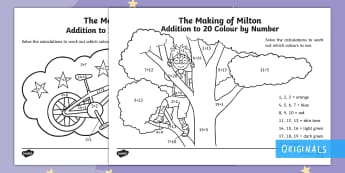 The Making of Milton Addition to 20  Colour by Number - KS1, EYFS, twinkl fiction, adding, story, tree, bike, bicycle, sums, calculations