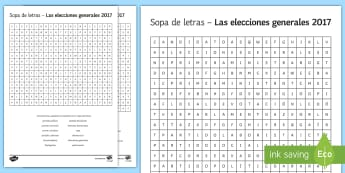 UK General Election Differentiated Word Search Spanish - elections, general, theresa, may, politics, politicians, differentiated, worksheet, activity, sheet,