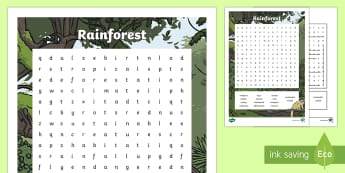 Rainforest Word Search - CfE Literacy, skim, scan, wordsearch, LIT, keywords, vocabulary,Scottish