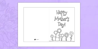 Mother's Day Card Template (Colouring) - Design, Mother's day card, Mother's day cards, Mother's day activity, Mother's day resource, card, card template,  colouring, fine motor skills