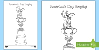 America's Cup Trophy Colouring Page - america's cup, sailing, yachting, trophy, colouring page, New zealand, yacht, all ages