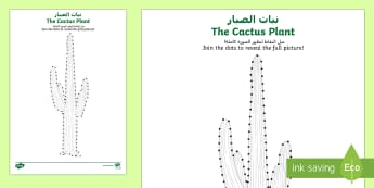 Cactus Plant Dot to Dot Activity Sheet Arabic/English - Science, living World, plants, dot to dot, activity, sheet, UAE, desert plants.,Arabic-translation