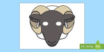Sheep Mask - role play, sheep, ram, nativity scene, stable, baa, ram, ewe, fleece.