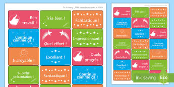 French Classroom Reward Stickers - Reward, feedback, assessment, marking, stickers, French KS3, Praise,French