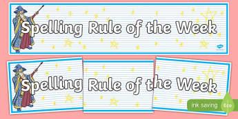 Spelling Rule of the Week Display Banner - spelling, rule, week, display banner, display, banner