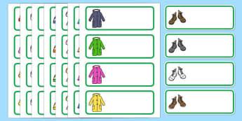 Editable Drawer - Peg - Name Labels (Outdoor Clothing) - Clothing, clothes, peg name, label, clothes pictures, tshirt, jeans, shorts, dress, cloves, hat