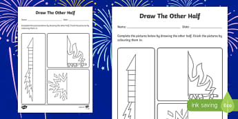 Bonfire Night Draw the Other Half Activity Sheet, worksheet