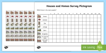 Houses and Homes Pictograms Type of House Worksheet - houses and homes, pictograms, type of house, houses, homes, type, houses and homes pictogram, house, home