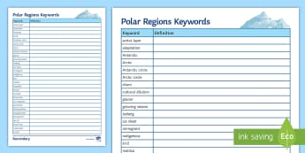 Polar Regions Keywords Activity Sheet - Polar, keywords, Arctic, Antarctica,Spelling