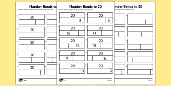 Bar Modelling Number Bonds to 20 Differentiated Activity Sheet Pack - bar model, bar modelling, number bonds to 20, worksheet