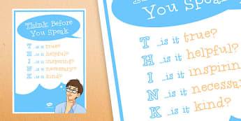 Anti-Bullying Week: Think Before You Speak Poster - anti-bullying week, think, speak, poster, display