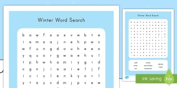 Winter Word Search - winter, word search, find, literacy