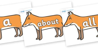 100 High Frequency Words on Foxes - High frequency words, hfw, DfES Letters and Sounds, Letters and Sounds, display words