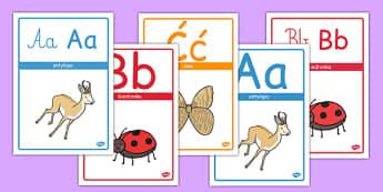 Polski alfabet ze zwierzętami po polsku - przedszkole, litery