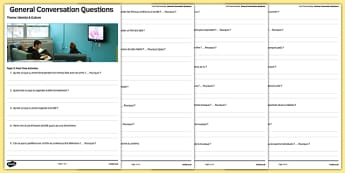 Leisure Themed General Conversation Questions Activity Sheet French - Speaking, Loisirs, Free Time, Hobbies, Temps, Libre, Music, Musique, Cinema, TV, Television, Sport, Eating Out, Restaurant