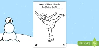 KS1 Design a Winter Olympics Ice Skating Outfit Activity Sheet - Olympic Games, Sportswear, Winter sports, figure skater, ice skater, worksheet