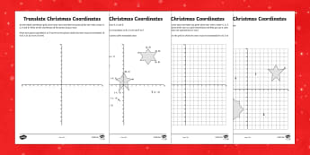 Year 6 Draw on the Full Coordinates Grid Christmas Worksheet / Activity Sheets Worksheet / Activity Sheets - Christmas Maths KS2, Year 6, Y6, coordinates, four quadrants, full coordinates grid, draw