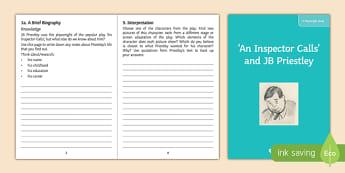 An Inspector Calls   JB Priestley Playwright Study Activity Sheet, worksheet