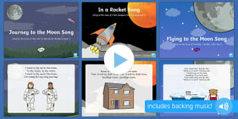 Space Bear Themed Songs and Rhymes PowerPoints Pack - EYFS, Early Years, space, rocket, moon, stars