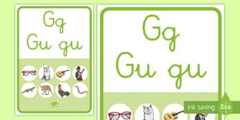 Póster: La letra G y Gu - lecto, leer, lectura, sonidos, letra , lecto-escritura, fónemas, sonidos, letra g, g fuerte, sonido