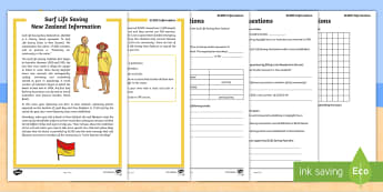 Surf Life Saving New Zealand Activity Sheet-Australia - surfing, surf, life saver, life saving, lifeguard, beach, beach safety,NZ, worksheet,Australia